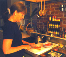 Flicka in her kitchen