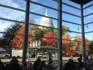 View of the capitol from Graze - one of Madison's popular farm to fork restaurants.